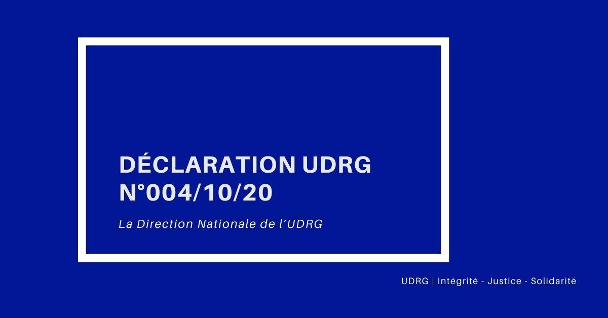 DÉCLARATION UDRG N°004_10_20