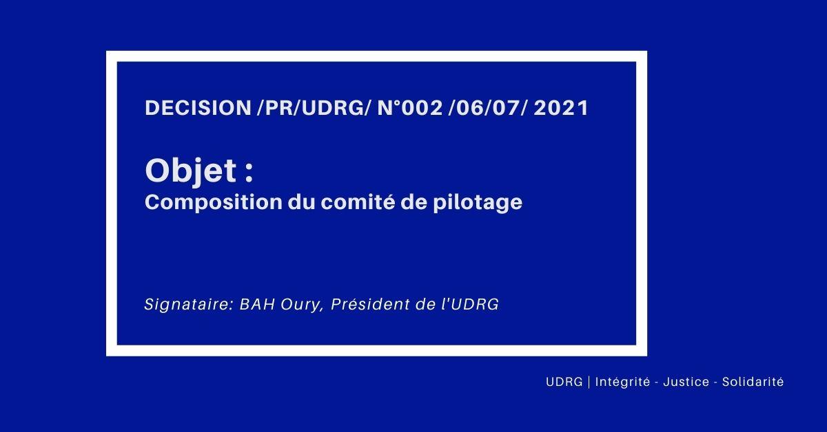 DECISION /PR/UDRG/ N°002 /06/07/ 2021